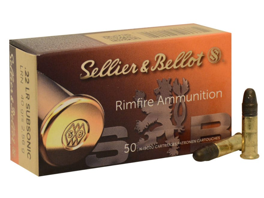 Sellier & Bellot Ammunition 22 Long Rifle Subsonic 40 Grain Lead Round Nose Plastic Can...