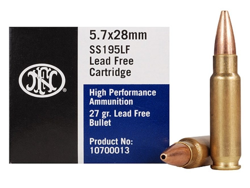 FNH SS195LF Ammunition 5.7x28mm FN 27 Grain Jacketed Hollow Point Lead-Free Box of 50