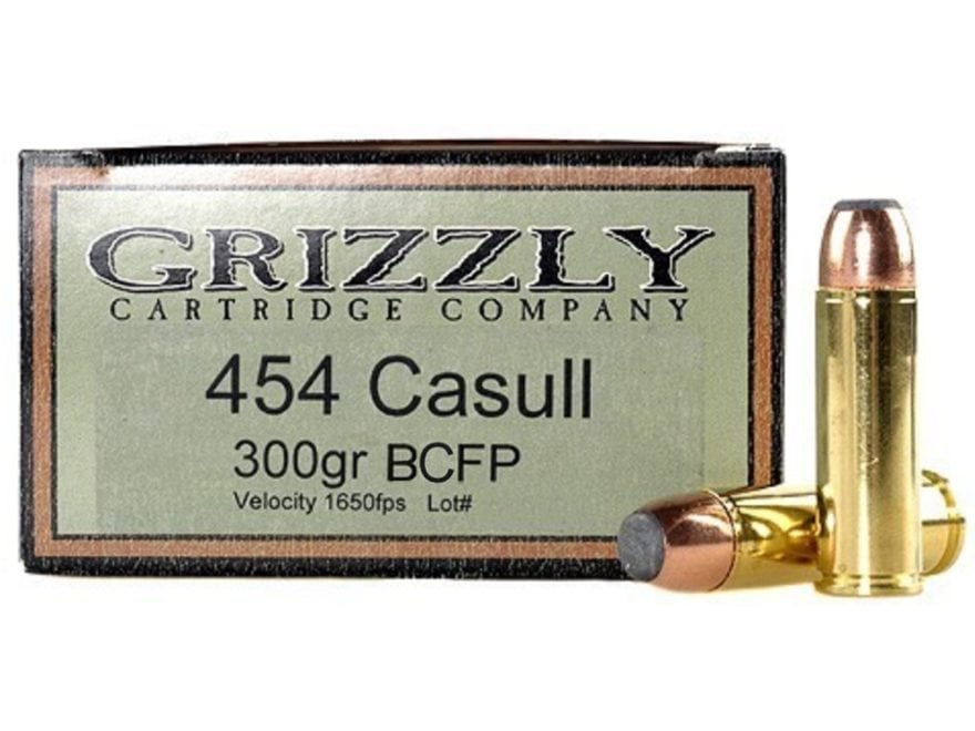 Grizzly Ammunition 454 Casull 300 Grain Bonded Core Jacketed Flat Point Box of 20