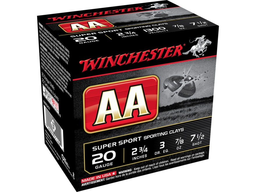 "Winchester AA Super Sport Sporting Clays Ammunition 20 Gauge 2-3/4"" 7/8 oz"