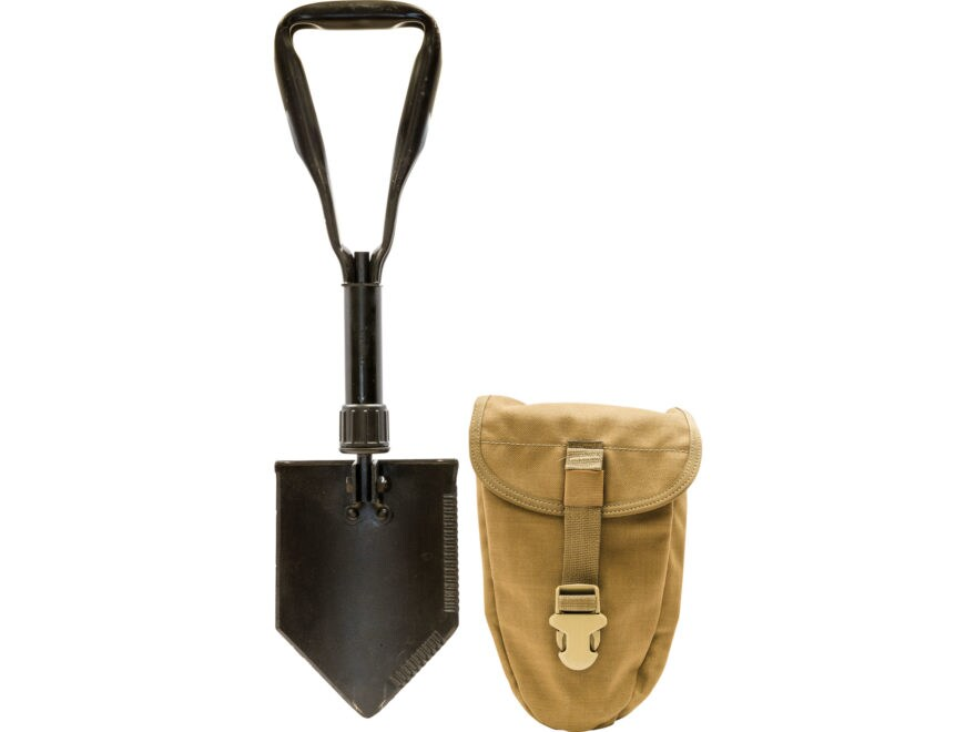 Military Surplus Entrenching Tool with Coyote Carrier Steel Black