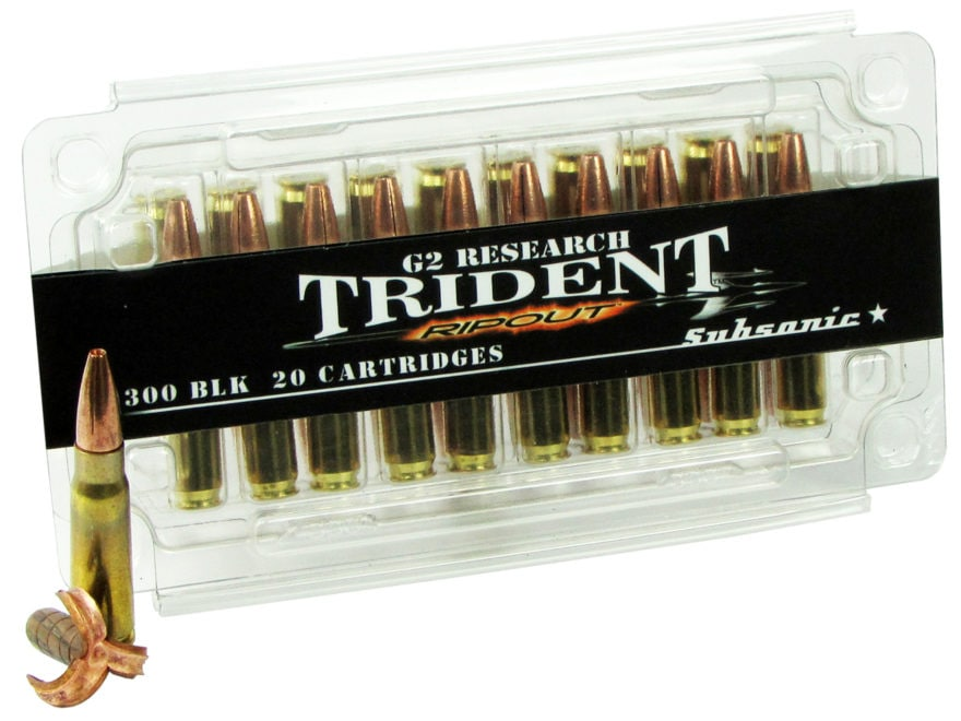 G2 Research RIP-OUT Trident Ammunition 300 AAC Blackout Subsonic 200 Grain Expanding So...