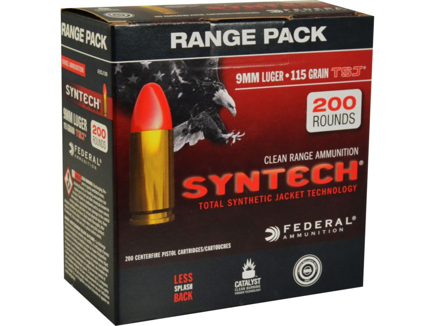 Federal American Eagle Syntech Ammunition 9mm Luger 115 Grain Total Synthetic Jacket