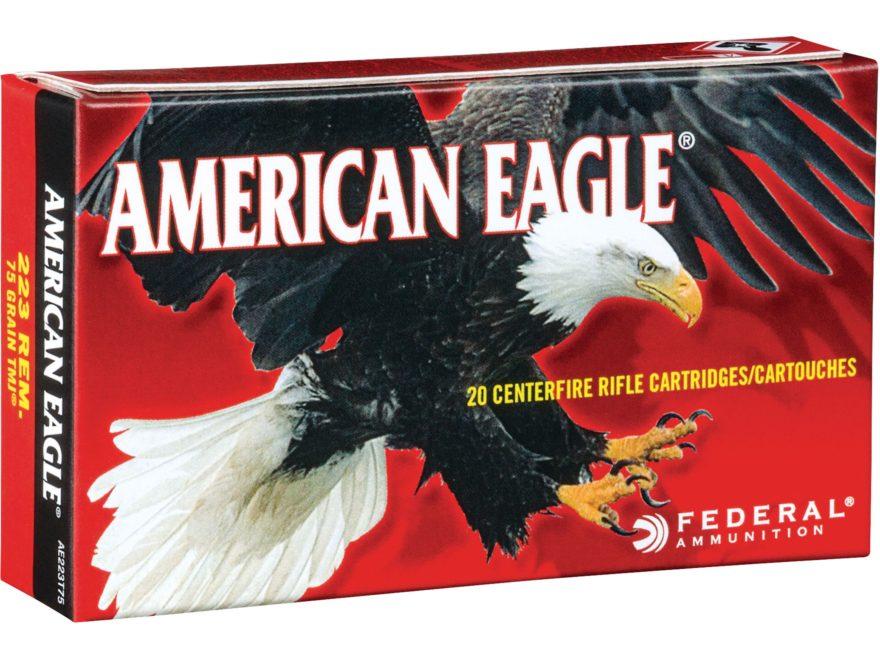 Federal American Eagle Ammunition 223 Remington 75 Grain Total Metal Jacket Box of 20