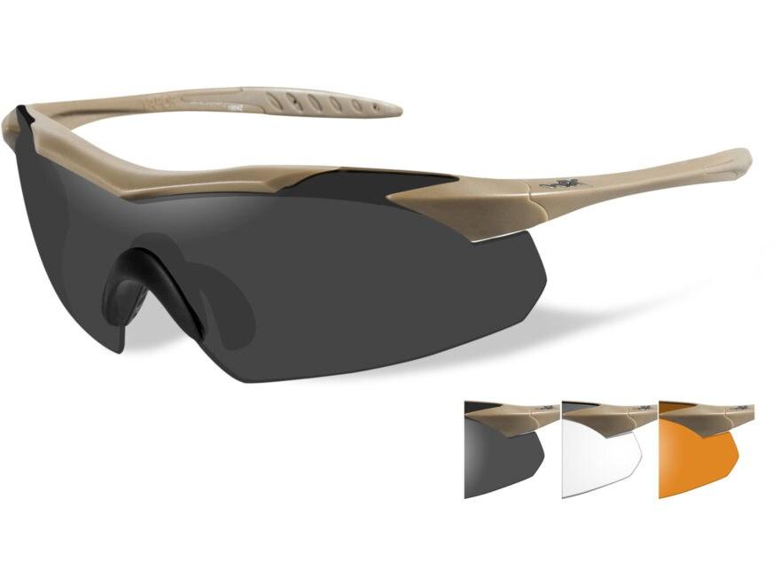 Wiley X WX Vapor Sunglasses Tan Frame Smoke Gray, Clear, and Light Rust Lens