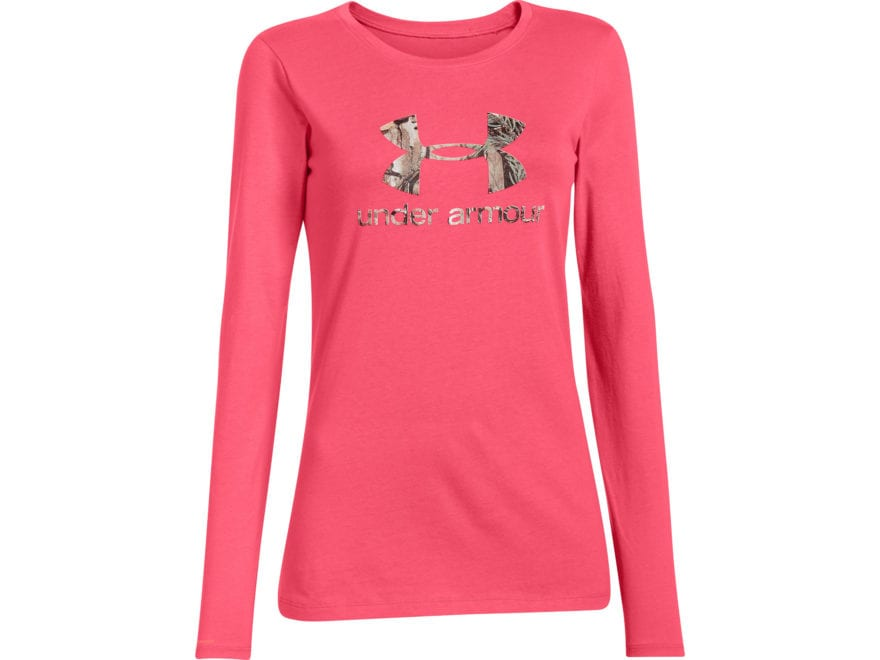 6439dc07 Under Armour Women's Camo Fill Logo T-Shirt Long Sleeve Cotton