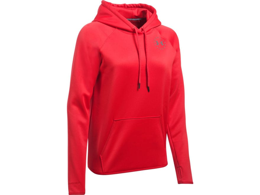 Under Armour Women's UA Freedom Flag Rival Hoodie Cotton/Polyester Blend Red XL
