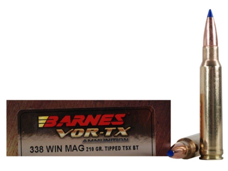 Barnes VOR-TX Ammunition 338 Winchester Magnum 210 Grain TTSX Polymer Tipped Spitzer Bo...