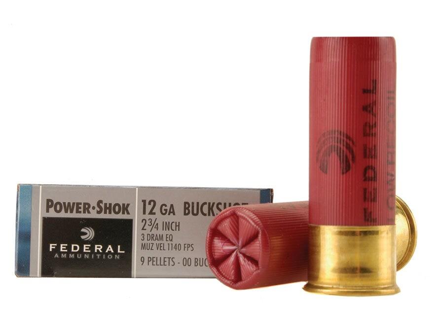 """Federal Power-Shok Low Recoil Ammunition 12 Gauge 2-3/4"""" Buffered 00 Buckshot 9 Pellets..."""