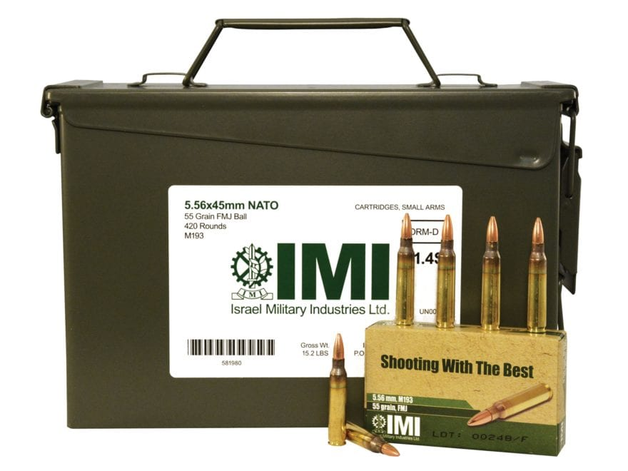 IMI Ammunition 5.56x45mm NATO 55 Grain M193 Full Metal Jacket Boat Tail Ammo Can of 420...