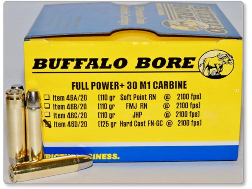 Buffalo Bore Ammunition 30 Carbine 125 Grain Hard Cast Lead Gas Check Flat Nose Box of 20