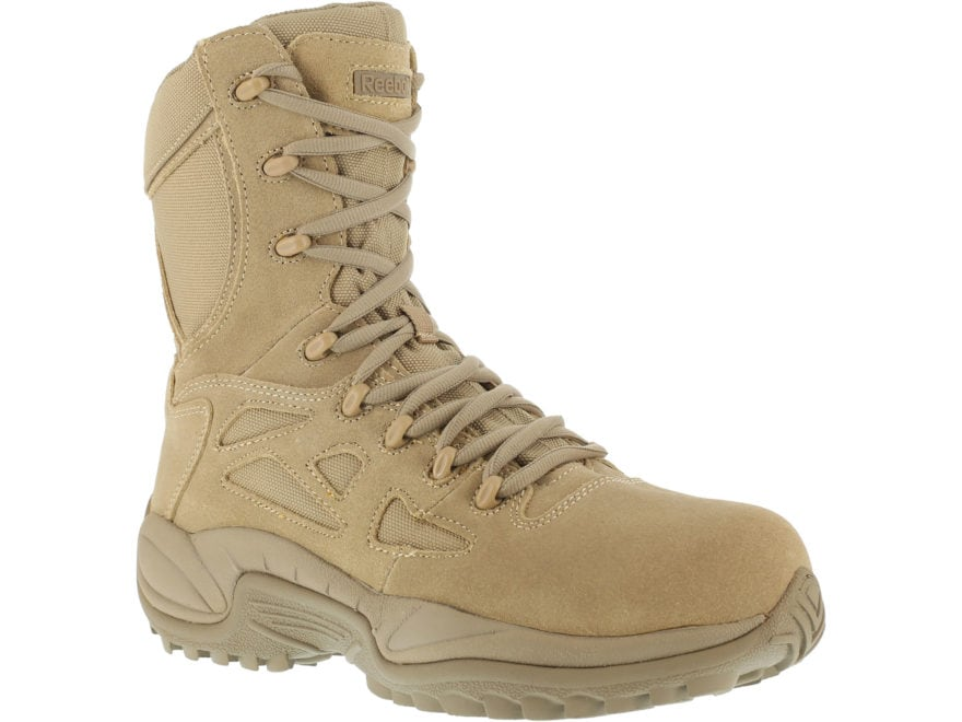 "Reebok Rapid Response RB 8"" Side-Zip Composite Safety Toe Tactical Boots Leather/Nylon ..."