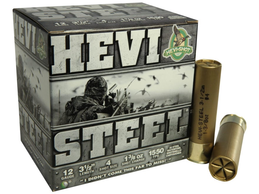 "Hevi-Shot Hevi-Steel Waterfowl Ammunition 12 Gauge 3-1/2"" 1-3/8 oz #4 Non-Toxic Shot"