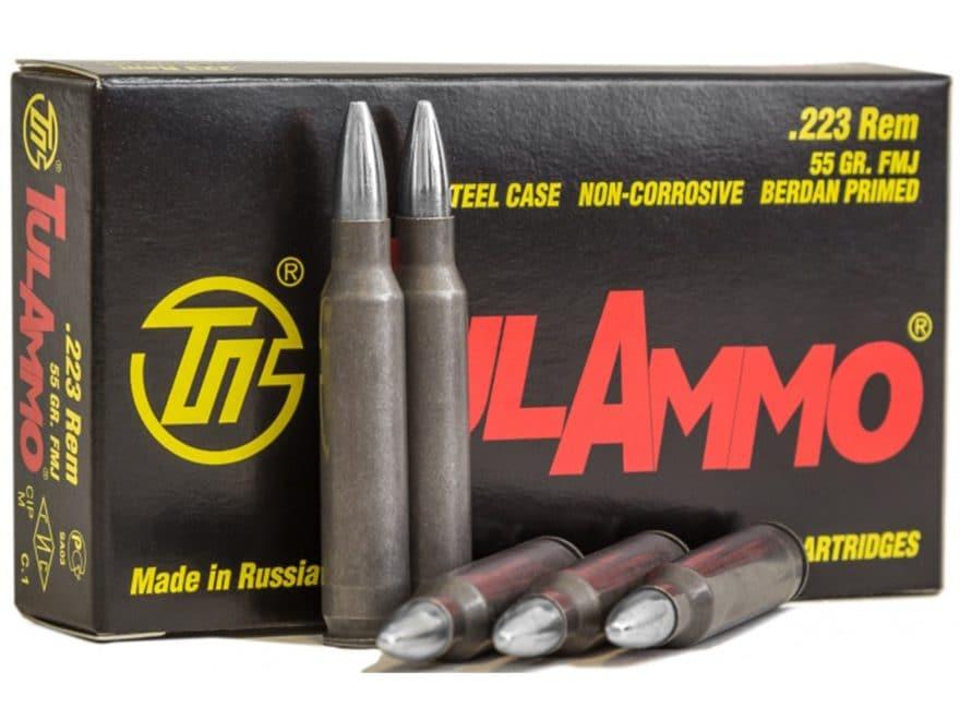 TulAmmo Ammunition 223 Remington 55 Grain Full Metal Jacket (Bi-Metal) Steel Case