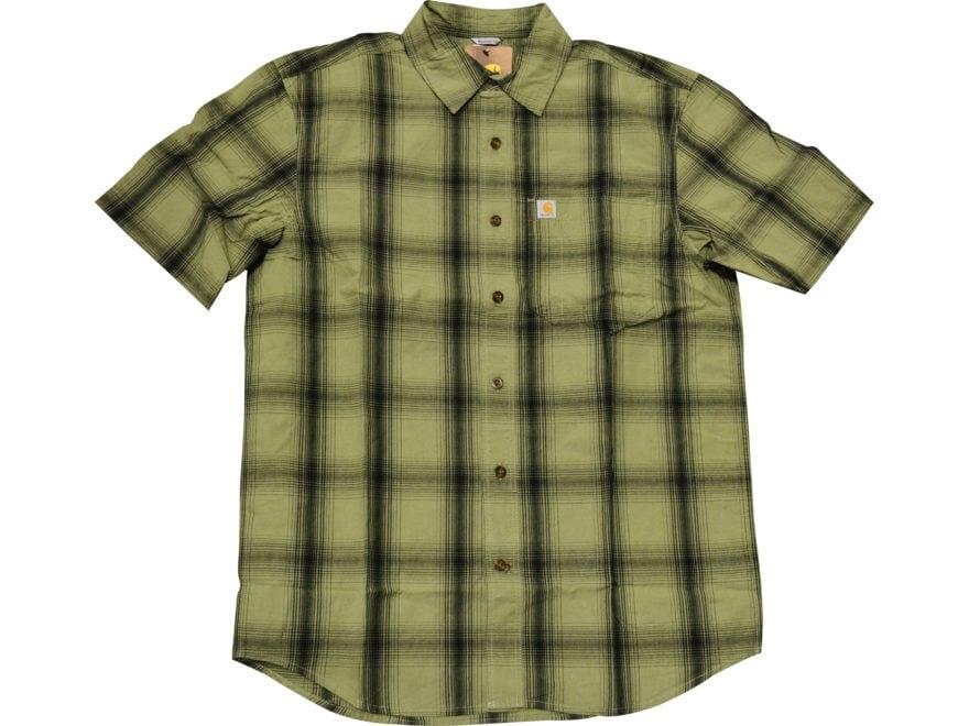 Carhartt Men's Essential Plaid Button-Up Short Sleeve Shirt Cotton/Spandex