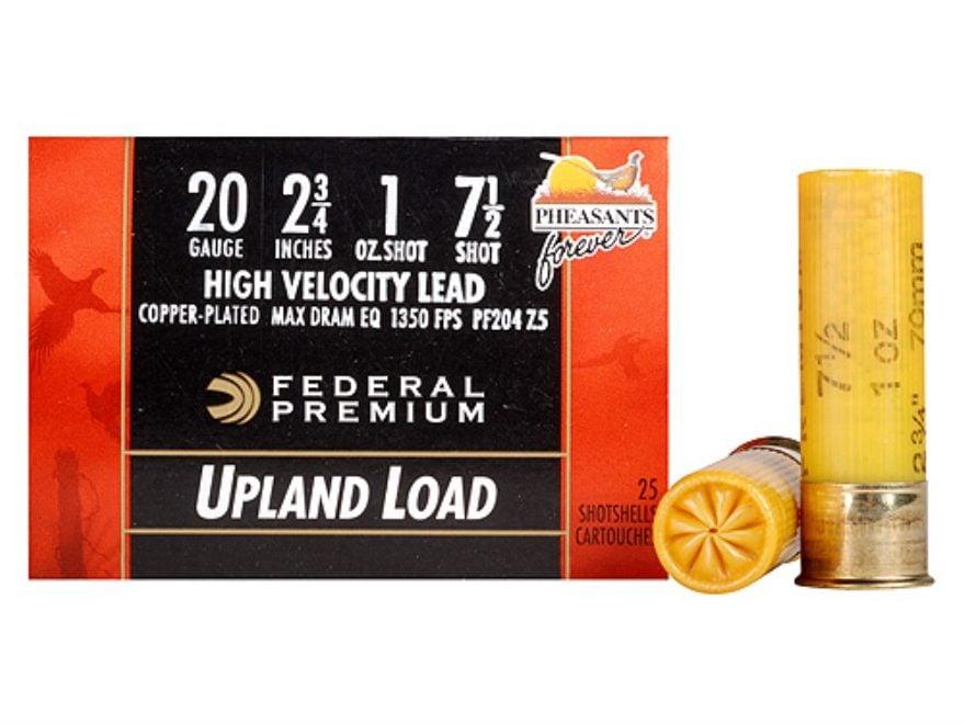 "Federal Premium Wing-Shok Pheasants Forever Ammunition 20 Gauge 2-3/4"" 1 oz Buffered Co..."