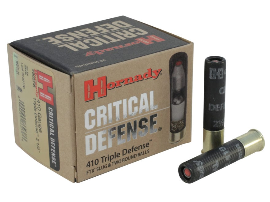 "Hornady Critical Defense Ammunition 410 Bore 2-1/2"" 41 Caliber FTX Slug over two 35 Cal..."
