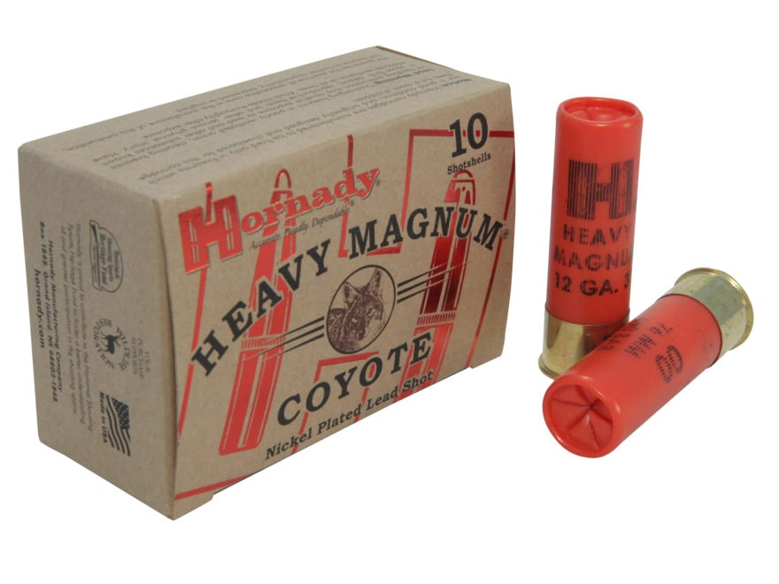 "Hornady Heavy Magnum Coyote Ammunition 12 Gauge 3"" 00 Buckshot Nickel Plated Box of 10"