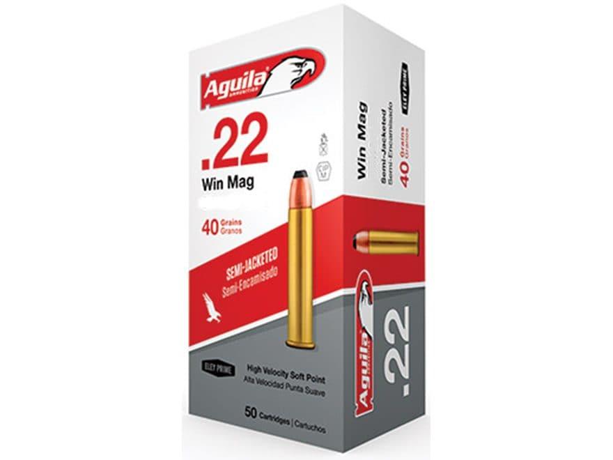 Aguila Ammunition 22 Winchester Magnum Rimfire WMR 40 Grain Jacketed Soft Point Box of 50