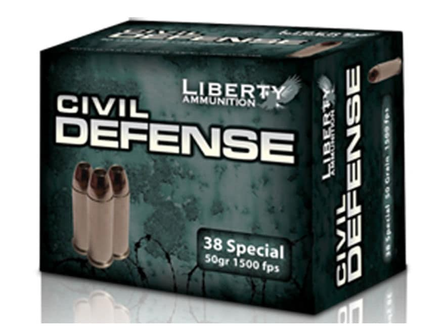 Liberty Civil Defense Ammunition 38 Special 50 Grain Fragmenting Hollow Point Lead-Free...
