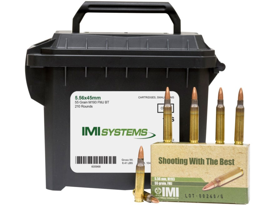 IMI Ammunition 5.56x45mm NATO 55 Grain M193 Full Metal Jacket Boat Tail Ammo Can of 210...