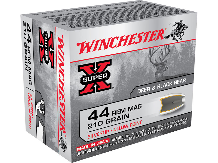 Winchester Super-X Ammunition 44 Remington Magnum 210 Grain Silvertip Hollow Point