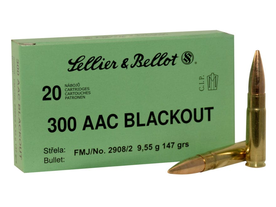 Sellier & Bellot Ammunition 300 AAC Blackout 147 Grain Full Metal Jacket