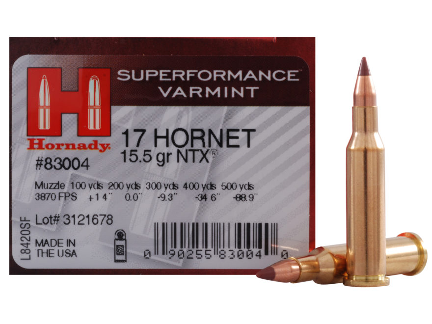 Hornady Superformance Varmint Ammunition 17 Hornet 15.5 Grain NTX Lead-Free Box of 25