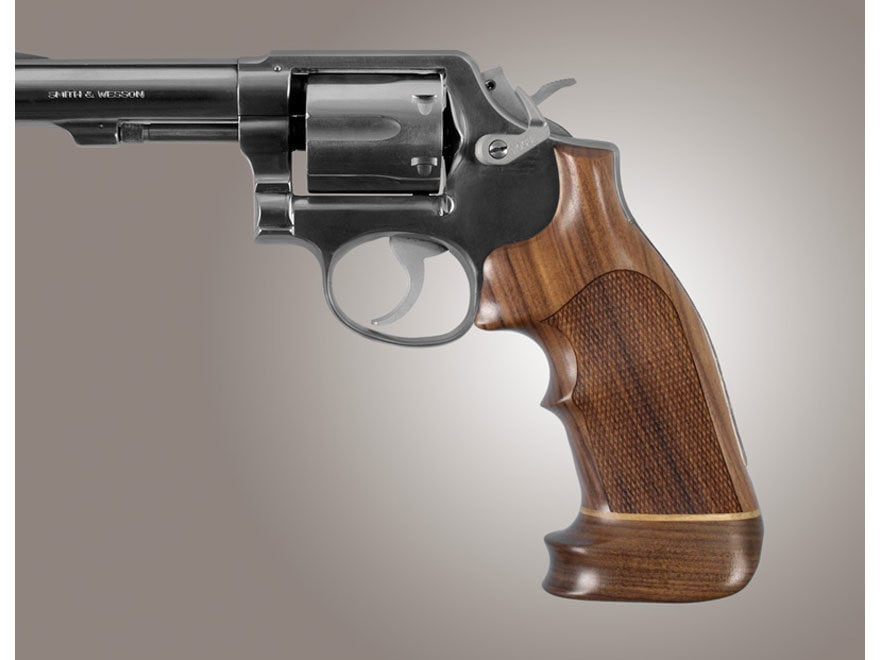 Hogue Fancy Hardwood Grips with Accent Stripe and Top Finger Groove S&W K, L-Frame Squa...