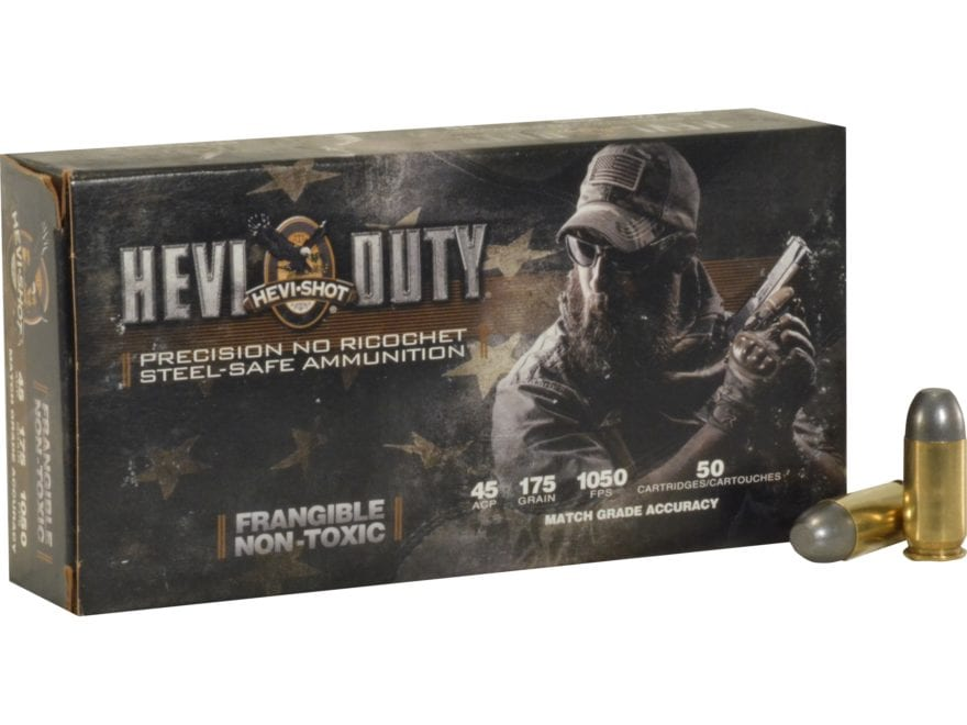 Hevi-Shot HEVI-Duty Defense Ammunition 45 ACP 175 Grain Frangible Non-Toxic Lead-Free B...