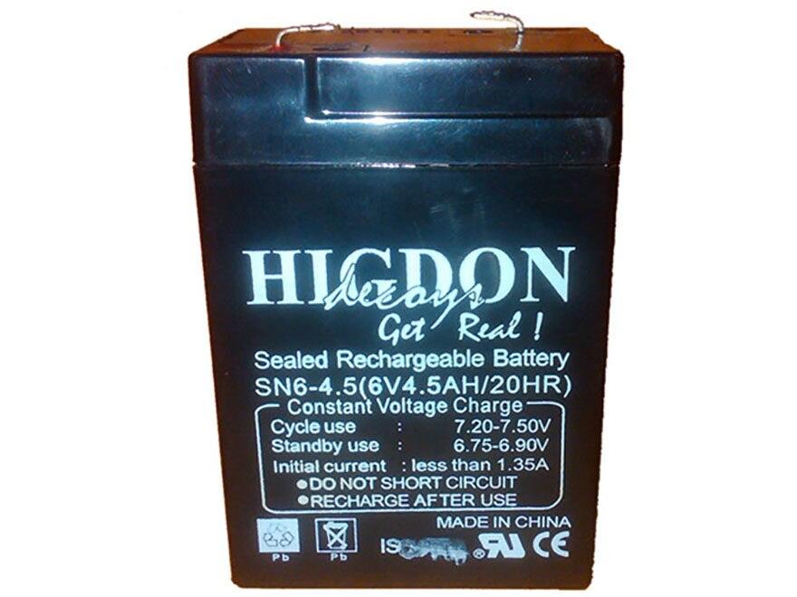 Higdon Motion Decoy Rechargeable Battery 6 Volt Lead Acid 4.5 mAH
