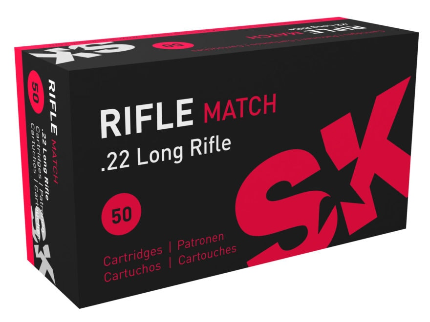 SK Rifle Match Ammunition 22 Long Rifle 40 Grain Lead Round Nose