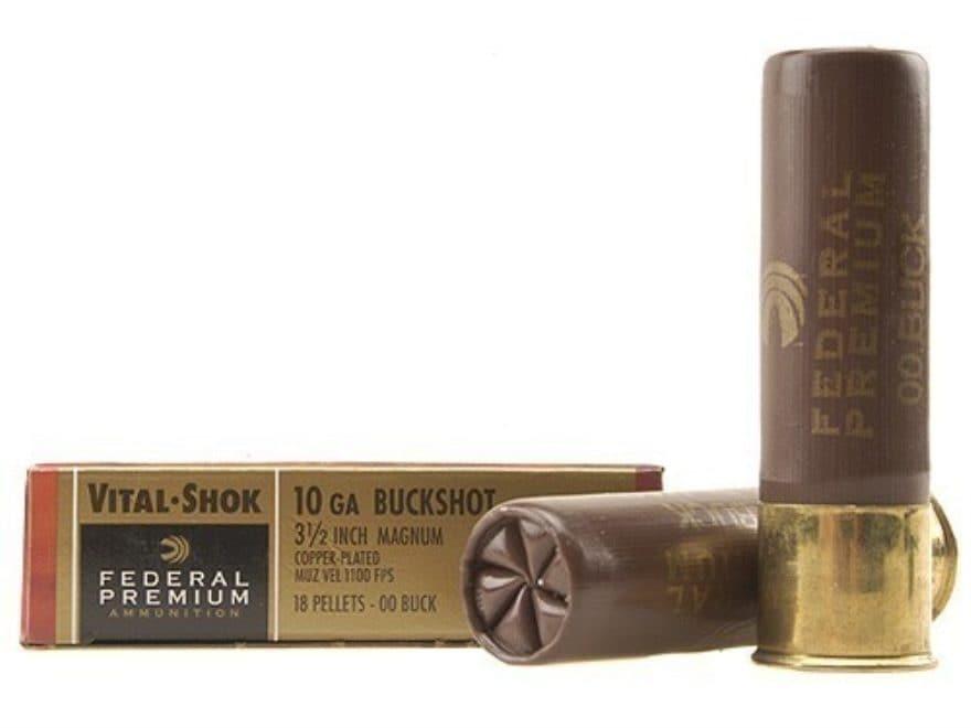 "Federal Premium Vital-Shok Ammunition 10 Gauge 3-1/2"" Buffered 00 Copper Plated Bucksho..."