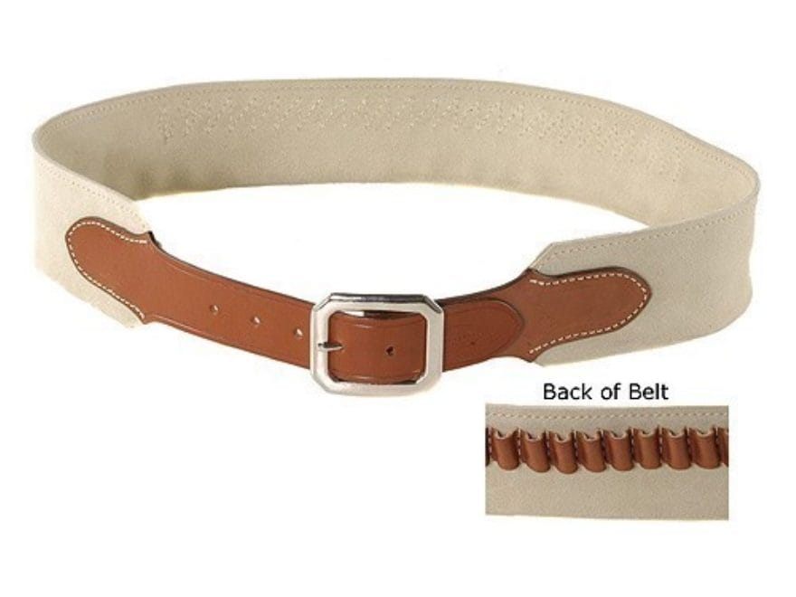 "Hunter Cartridge Belt ""Duke Two"" Style 45 Caliber Suede Leather Chestnut"