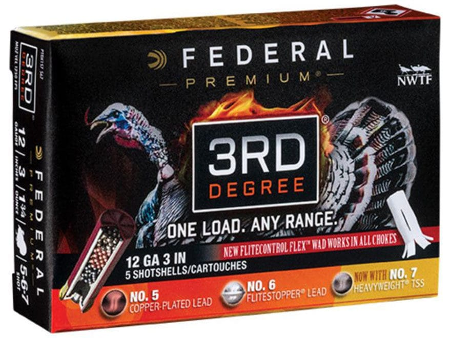 Federal Premium 3rd Degree Turkey Ammunition 12 Gauge #5, #6, and #7 Shot Multi Shot Fl...