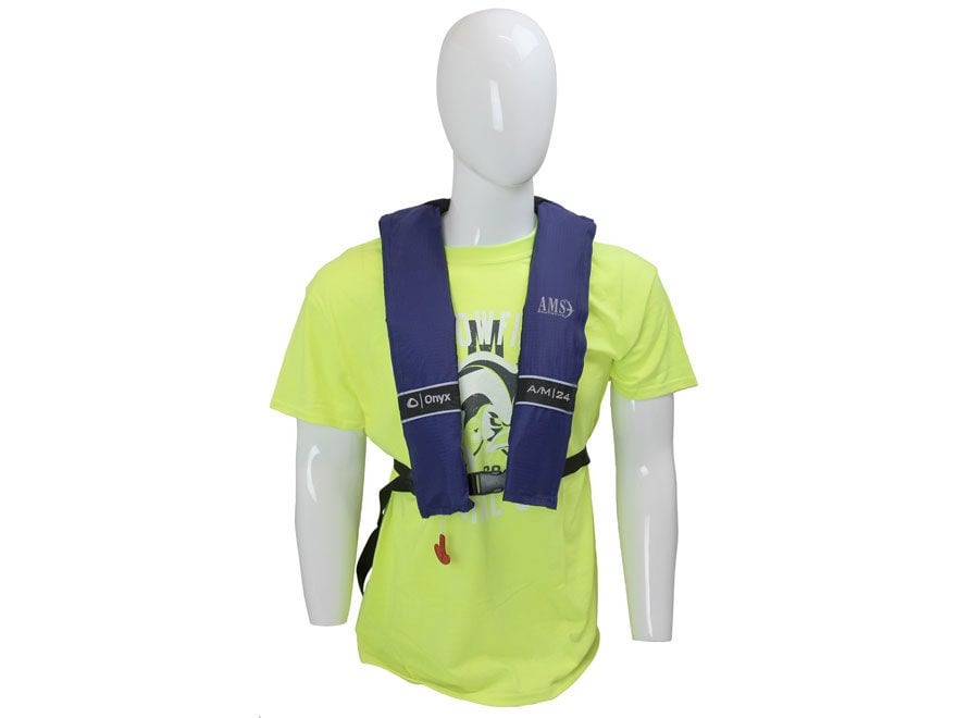 AMS Automatic/Manual Inflatable Life Vest Personal Flotation Device Blue