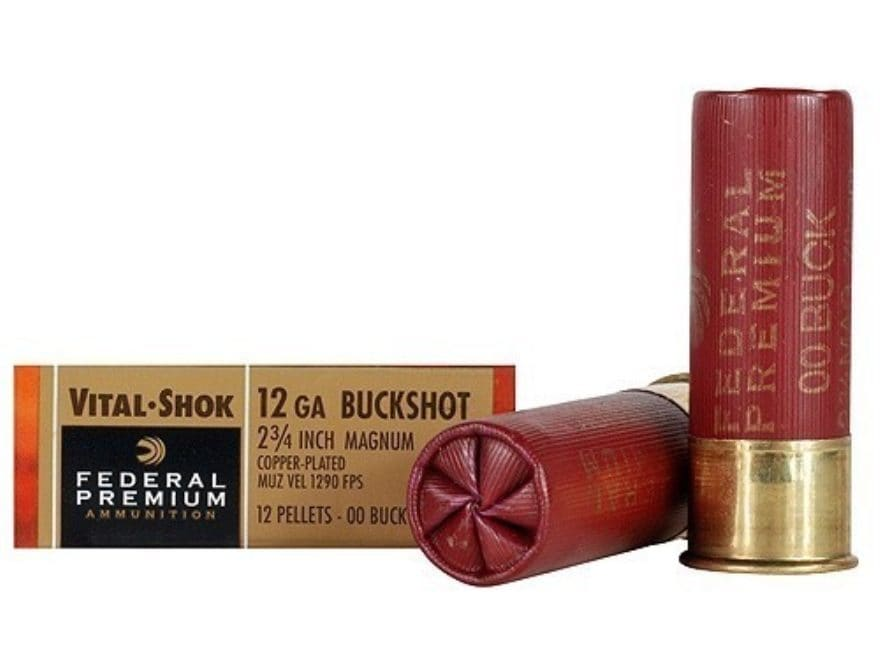 "Federal Premium Vital-Shok Ammunition 12 Gauge 2-3/4"" Buffered 00 Copper Plated Bucksho..."