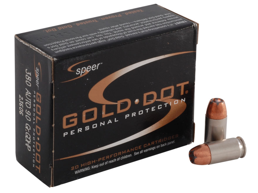 Speer Gold Dot Ammunition 380 ACP 90 Grain Jacketed Hollow Point