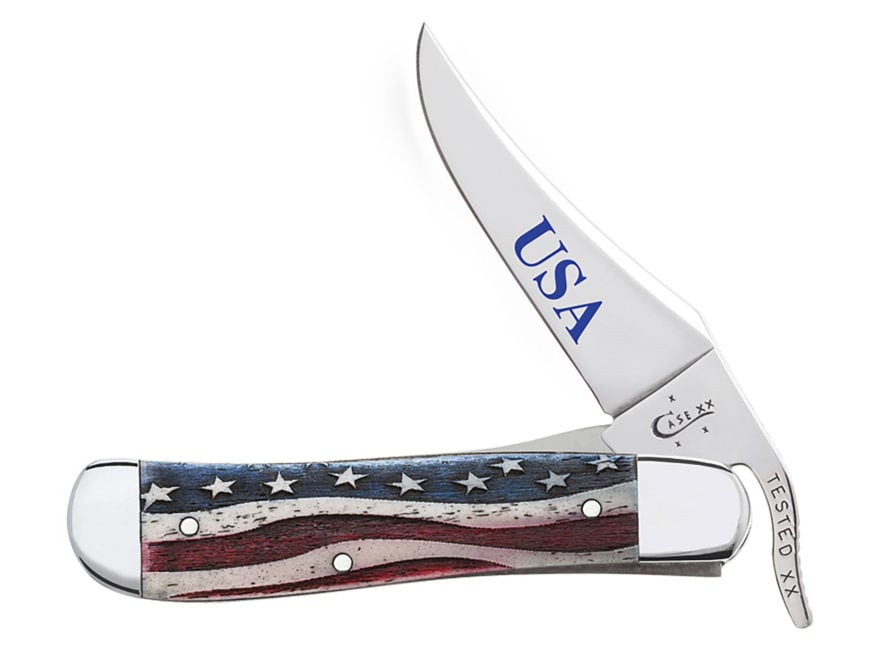 "Case Star Spangled Russlock Folding Knife 4.25"" Clip Point Stainless Steel Blade Embell..."