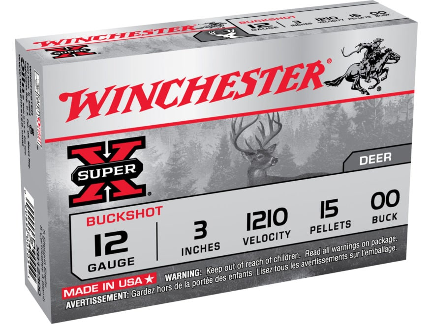"Winchester Super-X Ammunition 12 Gauge 3"" Buffered 00 Buckshot 15 Pellets Box of 5"