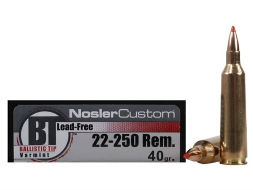 Nosler Trophy Grade Ammunition 22-250 Remington 40 Grain Ballistic Tip Varmint Lead-Fre...