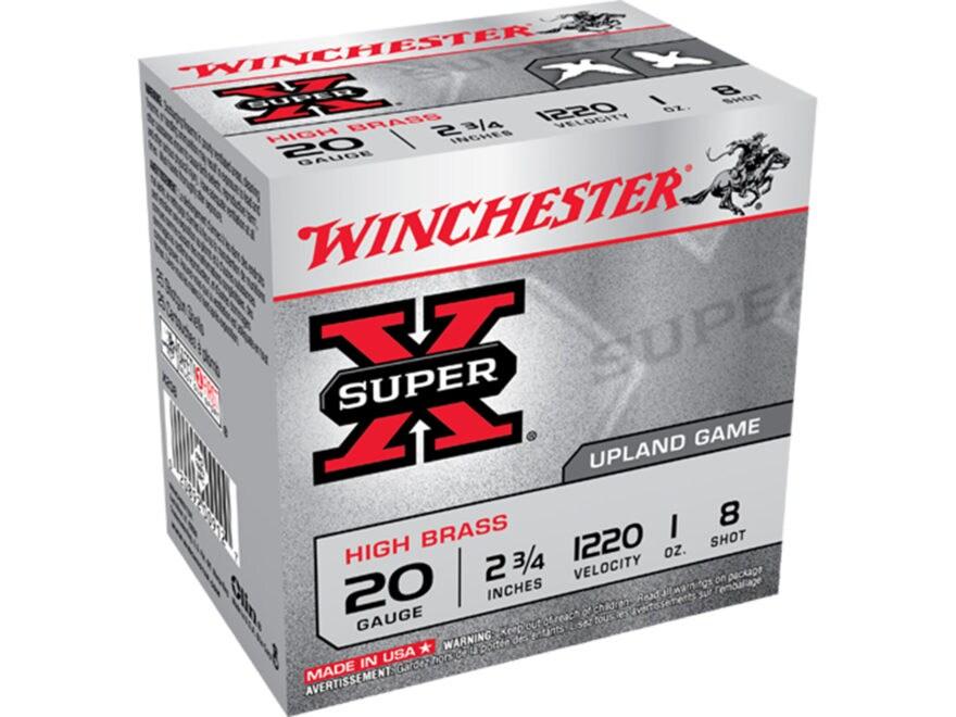 """Winchester Super-X High Brass Ammunition 20 Gauge 2-3/4"""" 1 oz #8 Shot Box of 25"""