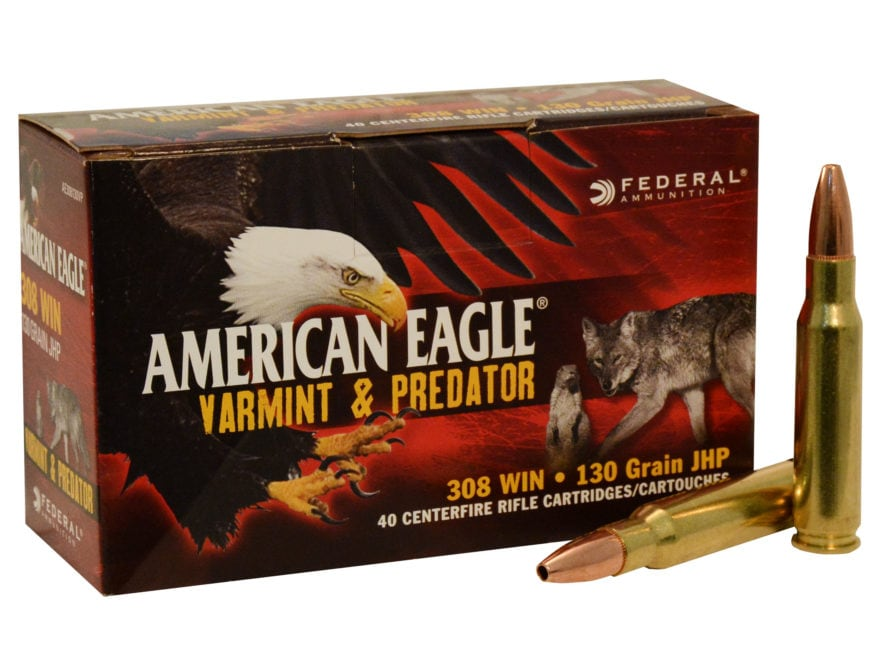 Federal American Eagle Varmint and Predator Ammunition 308 Winchester 130 Grain Hollow ...