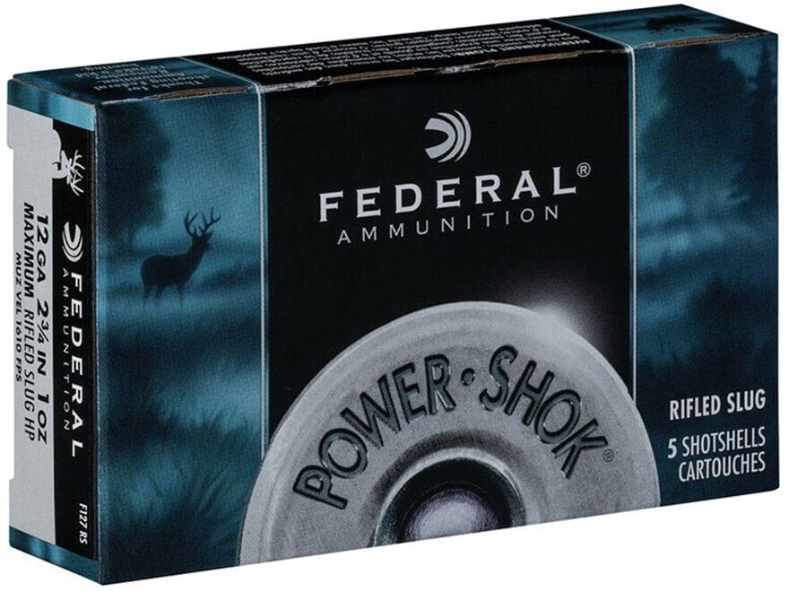 "Federal Power-Shok Ammunition 12 Gauge 2-3/4"" 1 oz Hollow Point Rifled Slug Box of 5"