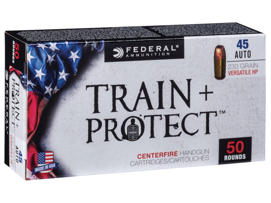 Federal Train + Protect Ammunition 45 ACP 230 Grain Versatile Hollow Point Box of 50