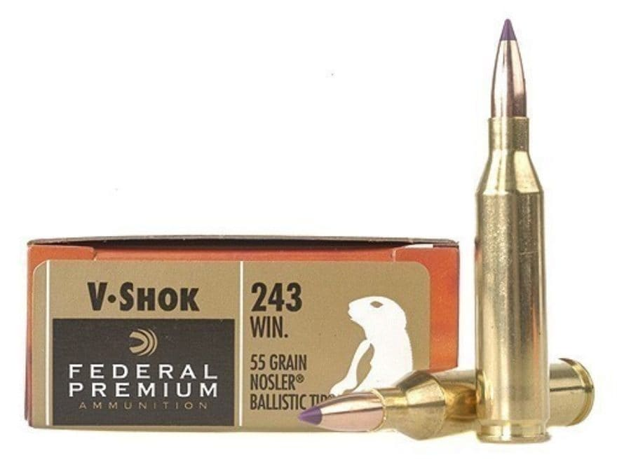 Federal Premium V-Shok Ammunition 243 Winchester 55 Grain Nosler Ballistic Tip