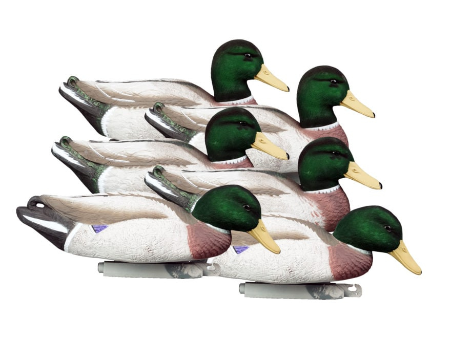 Higdon Magnum Foam Filled Flocked Head All Drakes Mallard Duck Decoy Polymer Pack of 6