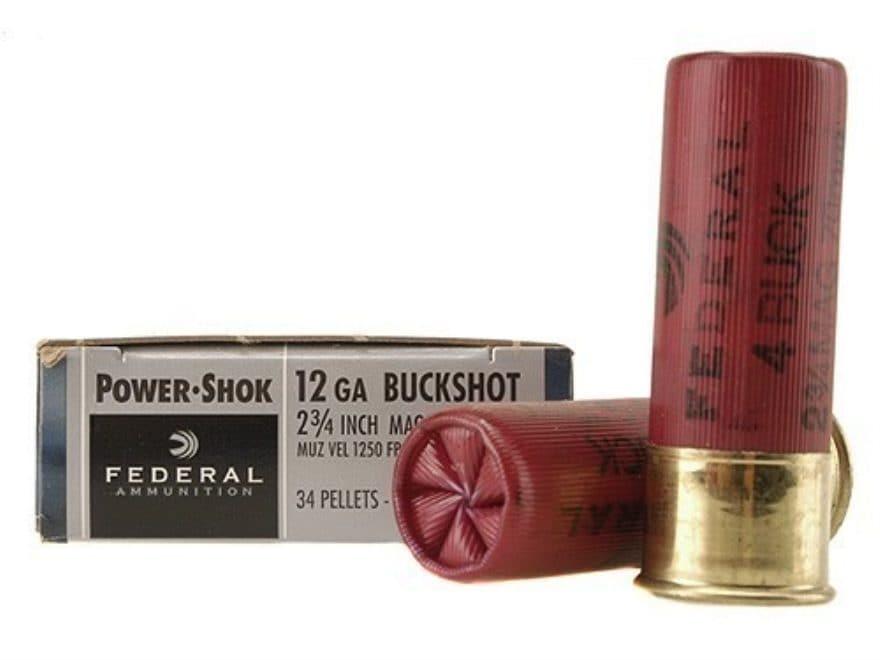 """Federal Power-Shok Ammunition 12 Gauge 2-3/4"""" Buffered #4 Buckshot 34 Pellets Box of 5"""