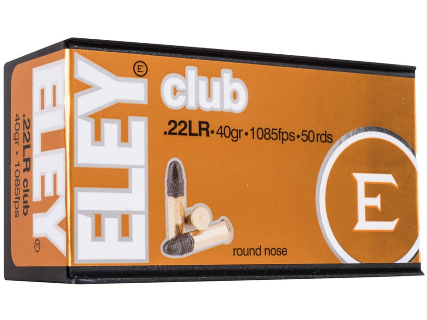 Eley Club Ammunition 22 Long Rifle 40 Grain Lead Round Nose