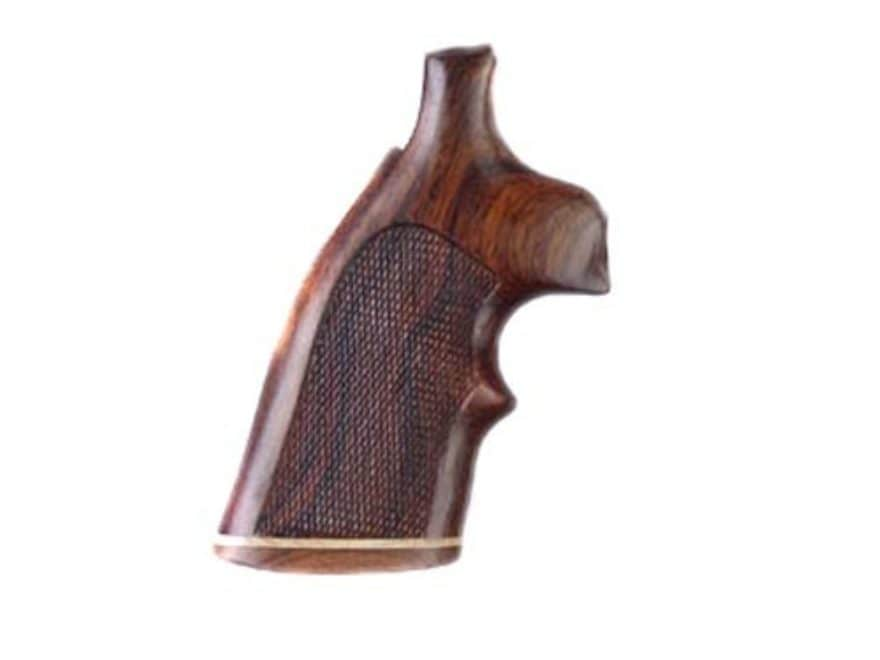 Hogue Fancy Hardwood Grips with Accent Stripe and Top Finger Groove Colt Python Checker...